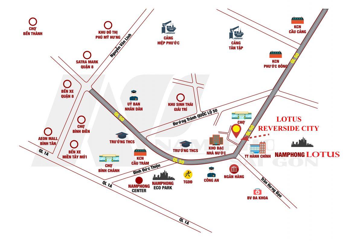 Sơ đồ đường đi Lotus Reverside City